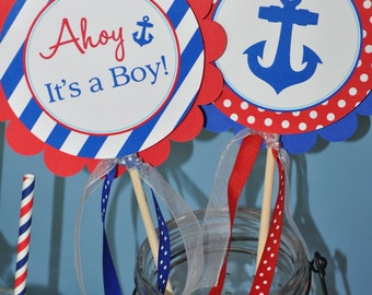 Nautical BABY SHOWER Centerpiece Sticks - Boys Baby Shower - Nautical Baby Shower Decorations - Whales and Anchors - Set of 4