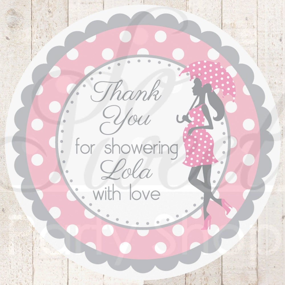Baby Shower Stickers For Favors: Girls Baby Shower Favor Sticker Labels Pink And Gray
