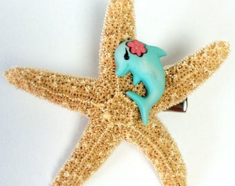 Dolphin Hair Clip with Starfish, Teen Hair Clip, Starfish Hair Fascinator, Girls Hair Clip, Gift for Girls, Women's Hair Clip, Free Shipping