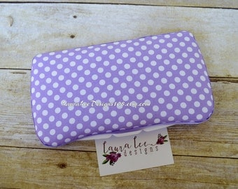 Lavender and White Polka Dots, Travel Baby Wipe Case, Purple Polka Dot, Diaper Wipes Case, Personalized Case, Wipe Holder, Baby Shower Gift