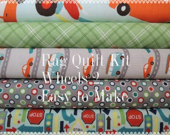 Wheels 2 Rag Quilt Kit 1, Designer Fabrics, Easy to Make, Personalized