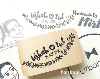 Couple name wedding stamp stamp/ leafy/ floral border/ hearts/ love/ customized wedding stamp/ custom wedding gift
