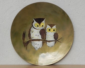 Large Bovano Enameled Copper Plate with Owls