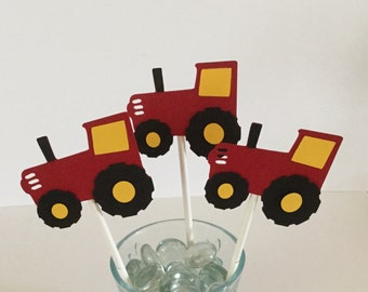 12 red and yellow TRACTOR cupcake Toppers