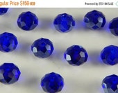 APPRECIATION SALE 20 Pieces of Glass Jewelry Beads - 8mm Round, Faceted Cut, Rondelle Shape, Sapphire Blue Color, 1mm Hole Size, Small Beads