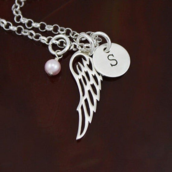 My Angel - Angel Wing Initial Necklace -  Sterling Silver