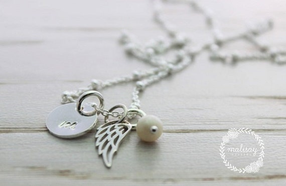 angel baby necklace | hand stamped jewelry | personalized mommy necklace | infant loss necklace | baby memorial | angel wing charm