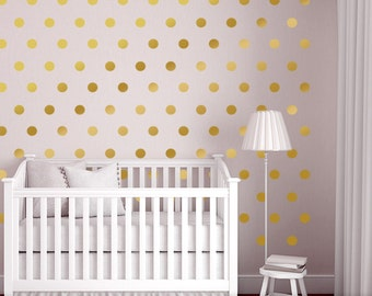 Wall Dots Nursery Decor, Gold Dot Wall Decals, Gold Vinyl Wall Dots, 2.5 Part 15