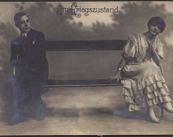 A State of War, WWI Era Unhappy German Couple, Feldpost Stamp