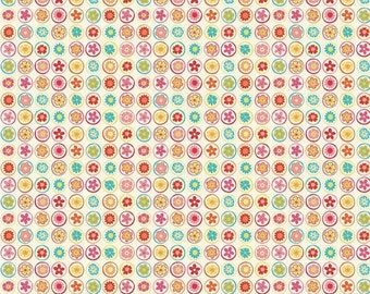 ON SALE Happy Flappers Cirlces Cream  Riley Blake Cotton Quilt Fabric by 1/2 yard