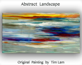 "Huge original modern art Abstract Cross Road Oil Painting Modern Impasto Texture canvas by Tim Lam 48"" x 24"""
