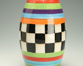 Checkerboard Pattern, Ceramic Vase, Black and White Checkered, Pottery Vase with Hand Painted Checker Board and Bright Stripes