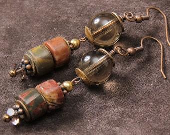 Smokey Jasper earrings: red creek jasper, smokey quartz, brass, copper