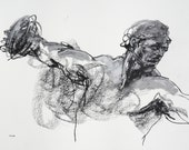 "Olympic Discus Throw - Figure Drawing - Xenophon of Corinth - 9 x 12"" charcoal and pastel on paper - original drawing"