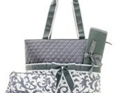 Grey Quilted Damask Diaper Bag Set Changing pad..Personalize it for FREE... at no charge.... WOW What a Deal