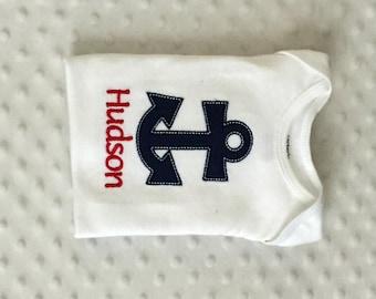 Baby Boy  Personalized Bodysuit , Appliqued Anchor  Nautical Theme