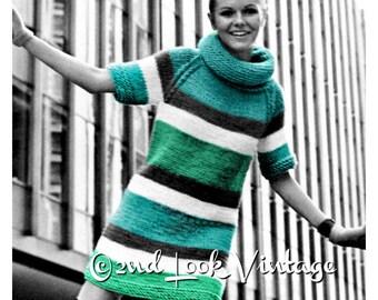 1960s Knitting Pattern Mini Sweater Dress Hood Collar Vintage Digital Download PDF