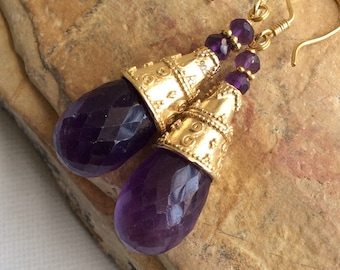 CASCADE EARRINGS  sterling gold amethyst dangle gem gemstone