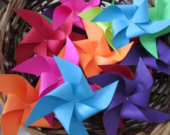 Paper Pinwheels in Custom Solids Set of 12 Pinwheels Off Sticks Birthday Party Favors Baby Shower Favors Wedding Favors DIY Favors Display