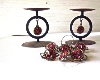 Vintage Redesign Reimagined Home Decor Table Center Piece Vintage Fall Remake Table Decoration Candle Holders Set Napkin Rings Earthy Stones