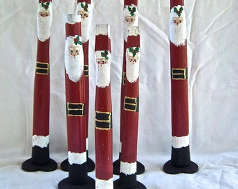 Vintage Wooden Handmade Redesigned Reimagined Santa Christmas Home and Living Mantle Decorations Vintage Gifts Hand Painted Santa Claus Set