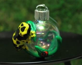 Leucomelas Poison Dart Frog Mini Christmas ornament