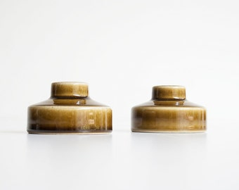 Vintage Mid Century Modern - Olive Green Ceramic Candleholders