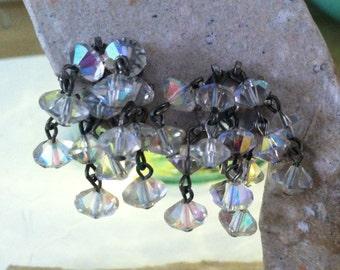 SALE Falling Waters: Vintage AB Crystal Clip On Earrings Waterfall Aurora Borealis