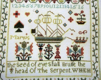 The Ann Hill Sampler Counted Cross Stitch Kit,  Williamsburg Collection, The Exemplary