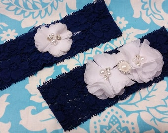 navy and white Wedding Garter set  , stretch lace garter, crystal, rhinestone, white chiffon flowers with beads and crystals, white pearl