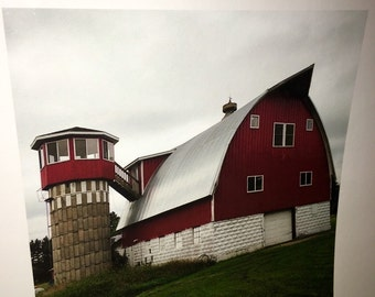 Original 8 by 8 photo on 14 by 14 paper barn and silo farm art farm series