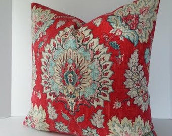 Decorative Designer Pillow Cover / Waverly Clifton Hall / Strawberry Red / Aqua Blue / Pale Pink and Cream
