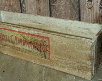 Primitive Antique Bull Durham Tobacco  - Black Americana wood advertising crate box
