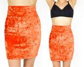 90's BRONZE Orange Crushed Velvet Mini Skirt. High Rise Waist. Bodycon Fitted. 90's Grunge Goth Punk