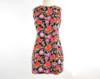 90's Vintage Black Color Floral Mini Shift Dress size - S/M