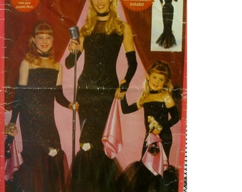 Matching Girls, Women and Fashion Doll Costume Pattern, Evening Gowns, Fitted, Bottom Ruffle, Sheer Top, Butterick No. 5723, All Sizes