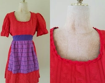 1970's Red Babydoll Mod Dress with Rick Rack Vintage Dress Size Small Medium by Maeberry Vintage