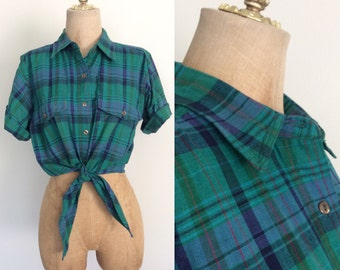 1980's Green & Blue Plaid Cropped Tie Top Pin Up Vintage Button Up Shirt Size Medium by Maeberry Vintage