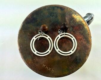 Wood and metal dangle earrings