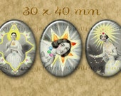STAR FAIRIES 30x40 Ovals - Digital Printable collage sheet for Jewelry Cameos Cabs Pendants...Astronomy Fantasy by JJ Grandville