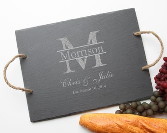 Personalized Slate Cheese Boards, Custom Engraved Slate Serving Tray, Personalized Slate, Personalized Wedding Gifts, Housewarming Gifts D24
