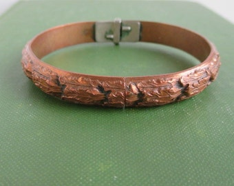 Whiting & Davis Vintage Copper Hinged Bracelet - Heavy