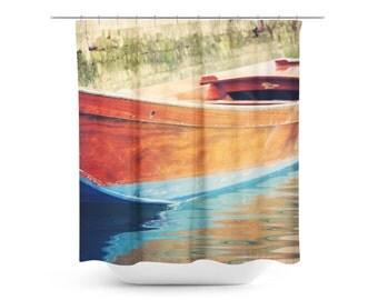 Boat Shower Curtain - Venice Travel Photo - Photograph - Italian Decor - Aqua Blue Brown - Bathroom decor - Abstract Art - Italy Photography
