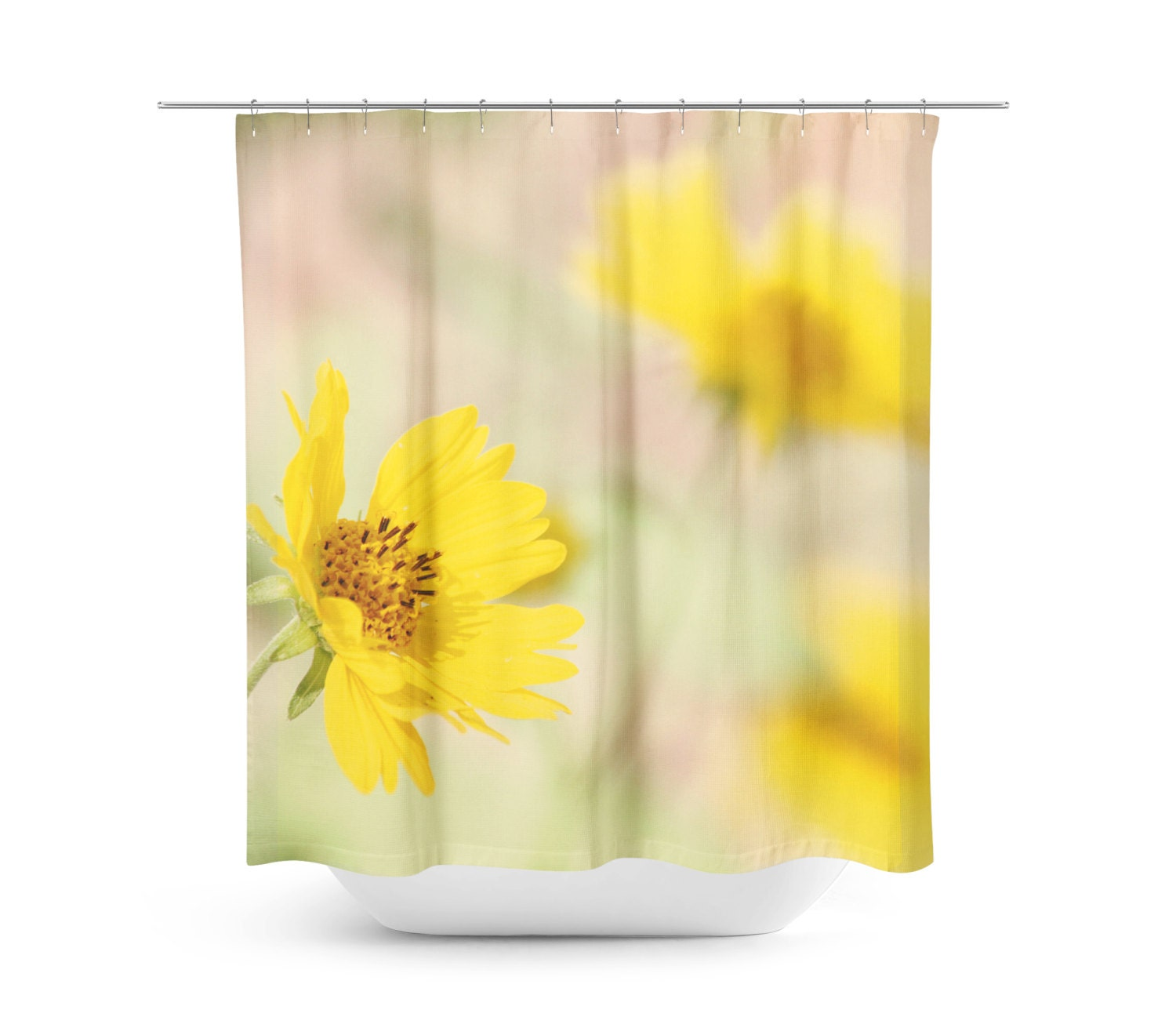 Yellow flowers shower curtain bright yellow floral for Bright yellow bathroom accessories