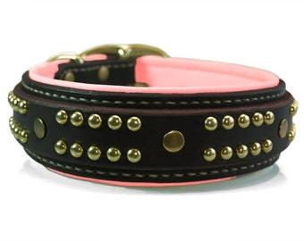 Pink Leather Dog Collar - Rose Quartz Dog Collar for Large Dog - Pitbull Dog Collar -  Custom Bully Dog Collars - Padded Leather Dog Collar
