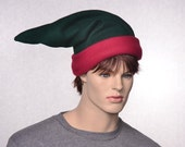 Crimson Red and Green Elf Hat with Upturned Cuffed Headband Fantasy Wizard Dwarf Hat Unisex Adult Men Woman Costume Cap Fleece Hat