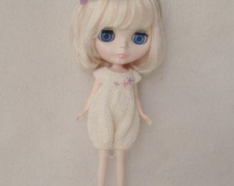 Cream Knitted Romper for Blythe