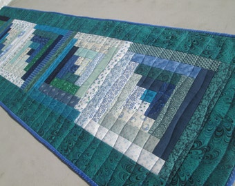 Quilted Spring Log Cabin Long Table Runner