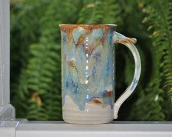 Pottery  Coffee Mug in Tri-Color Glaze  Stoneware 16 oz large