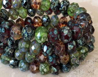 8mm x 6mm Czech Glass Heavy Picasso Bead Spacer Rondelle Rondell  (10) Bohemian Luxe Jewel Tone Opalite Mix - Central Coast Charms